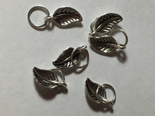 Handmade Silver Metal Stitch Markers ~ Silver Leaves ~ Set of 6