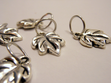 Handmade Silver Metal Stitch Markers ~ Silver Maple Leaves ~ Set of 6
