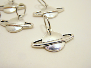 Silver Metal Stitch Markers ~ Planets ~ Set of 6