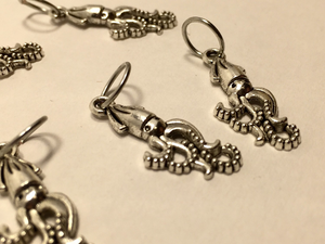 Handmade Silver Metal Stitch Markers ~ Silver Squid ~ Set of 6
