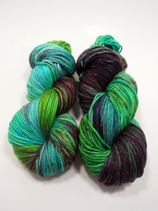 "Ville: ""Siren"" Hand Dyed Worsted Aran Superwash Merino Wool Yarn  ~ Variegated Purple Green and Blue Worsted Weight Wool Yarn"
