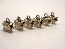 Handmade Silver Metal Stitch Markers ~ Six Little Pigs ~ Set of 6