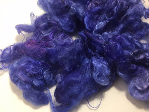 Hand Dyed Mohair Locks 2oz: Smashed Blueberries