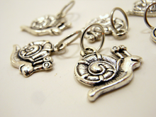 Handmade Silver Metal Stitch Markers ~ Snails ~ Set of 6