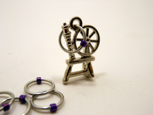 Handmade Snagless  Metal Stitch Markers ~ Spinning Wheel ~ Set of 10