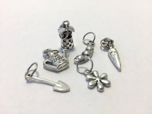 Handmade Silver Metal Stitch Markers ~ Spring Fever ~ Set of 6 Garden Themed Stitch Markers