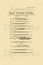 Vintage Style Postcard Set of 4 ~ Steel Crochet Hooks ~ Vintage Crochet Salesman Advertisement Postcard