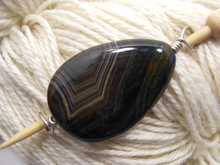 Handmade Natural Stone Shawl Pin ~ Wire Wrapped Stone ~ Striped Chocolate Teardrop Agate with Silver Wire