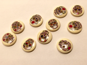 Wooden Buttons Set of 10: Sugar Skull Buttons ~ Small