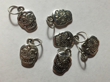 Handmade Silver Metal Stitch Markers ~ Sugar Skulls ~ Set of 6