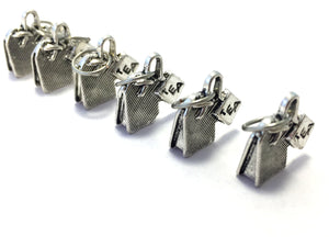 Handmade Silver Metal Stitch Markers ~ Tea Bags ~ Set of 6