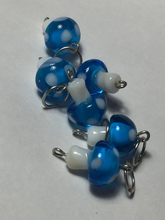 Handmade Lamp Work Glass Stitch Markers ~ Teal & White Mushrooms ~ Set of 6