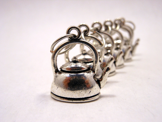 Handmade Silver Metal Stitch Markers ~ Teapots ~ Set of 6