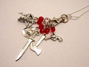 Handmade Silver Metal Stitch Marker Necklace ~ The Walking Dead