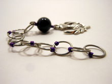 Handmade Snagless Beaded Chain Row Counter ~ Thistle ~ Silver Thisle with Moss Agate and Purple Markers