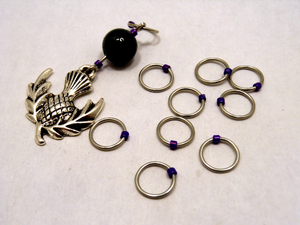 Handmade Snagless Metal Stitch Markers ~ Thistle ~ Set of 10