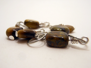Handmade Natural Stone Stitch Markers ~ Tiger Eye ~ Set of 5