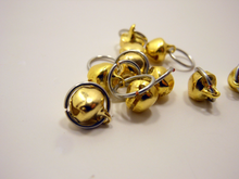 Tintinnabulation ~ Tiny Gold Jingle Bell Stitch Markers ~ Set of 10
