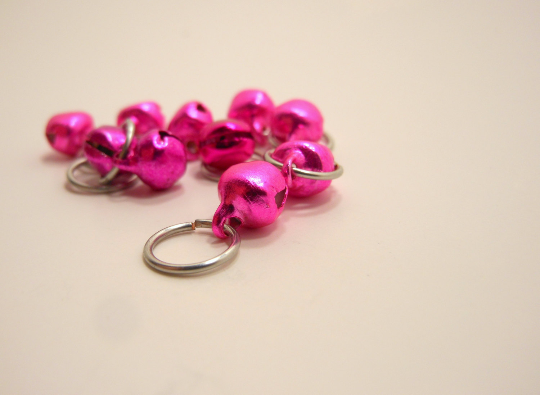 Tintinnabulation ~ Tiny Hot Pink Jingle Bell Stitch Markers ~ Set of 10