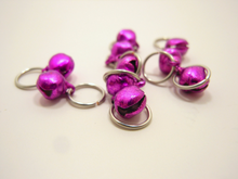 Tintinnabulation ~ Tiny Magenta Jingle Bell Stitch Markers ~ Set of 10