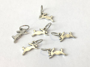 Handmade Silver Metal Stitch Markers ~ Tiny Bunnies ~ Set of 6