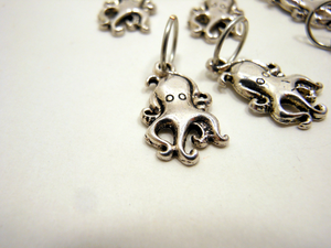 Handmade Silver Metal Stitch Markers ~ Tiny Octopus ~ Set of 6