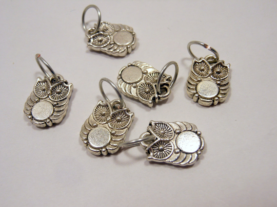 Handmade Silver Metal Stitch Markers ~ Tiny Owls ~ Set of 6