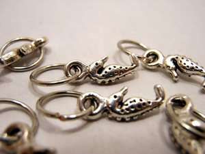 Handmade Silver Metal Stitch Markers ~ Tiny Seahorses ~ Set of 6