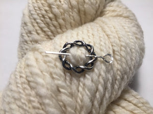 Silver Metal Shawl Pin ~ Twisted Silver