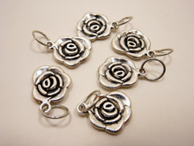 Handmade Silver Metal Stitch Markers ~ Tyrell Roses ~ Set of 6 ~ Inspired by Game of Thrones Great Houses