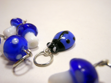 Handmade Lampwork Glass Stitch Markers ~ Under a log ~ Set of 6 Mushroom and Beetle Stitch Markers ~ Cobalt Blue