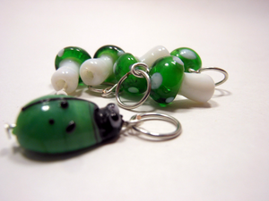 Handmade Lampwork Glass Stitch Markers ~ Under a log ~ Set of 6 Mushroom and Beetle Stitch Markers ~ Green