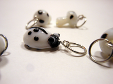 Handmade Lampwork Glass Stitch Markers ~ Under a log ~ Set of 6 Mushroom and Beetle Stitch Markers ~ White and Black