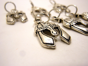 Handmade Silver Metal Stitch Markers ~ Viking Helm ~ Set of 6