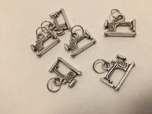 Handmade Silver Metal Stitch Markers ~ Vintage Sewing Machines ~ Set of 6