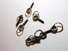Handmade Vintage Silver Metal Stitch Markers ~ Vintage Style Eye Screw ~ Silver ~ Set of 6