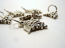 Handmade Silver Metal Stitch Markers ~ Vitis Vinifera ~ Set of 6 Grape Stitch Markers