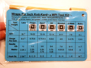 WPI Tool by Nancys Knit Knacks ~ Wrap Per Inch Tool and Reference Card for Hand Spinning