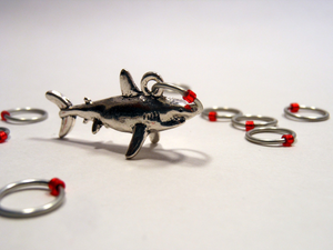 Handmade Snagless Stitch Markers ~ We're Gonna Need a Bigger Boat ~ Set of 10 ~ Shark Stitch markers