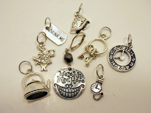 Silver Metal Stitch Markers ~ We're All Mad Here ~ Set of 8 Stitch Markers Alice in Wonderland Inspired Stitch Markers