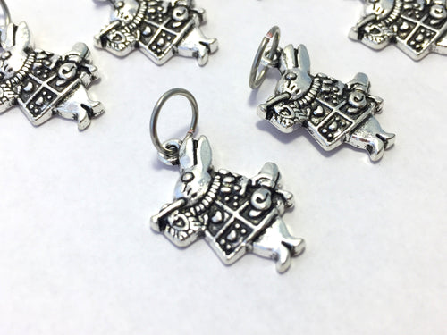 Handmade Silver Metal Stitch Markers ~ White Rabbit ~ Set of 6
