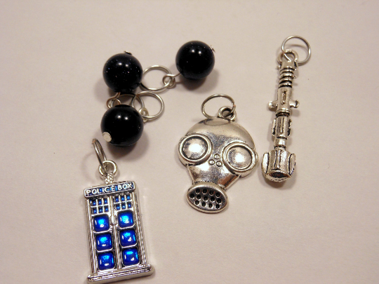 Handmade Silver Metal Stitch Markers ~ Whovian Collection ~ Set of 6