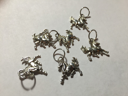 Handmade Silver Metal Stitch Markers ~ Wild Horses ~ Set of 6