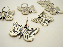 Handmade Silver Metal Stitch Markers ~ XL Butterflies ~ Set of 6
