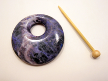 Natural Stone Agate Shawl Pin ~ Extra Large Sodalite ~ Blue, White, and Black Sodalite