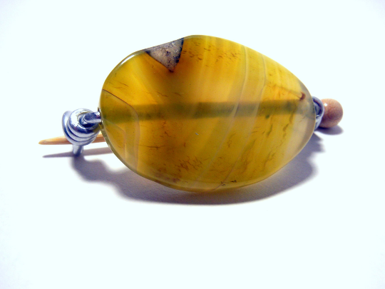 Handmade Natural Stone Shawl Pin ~ Wire Wrapped Stone ~ Yellow Druzy Agate with Geode and Silver Wire