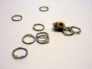 Handmade Snagless Stitch Markers ~ Neon Yellow Skull ~ Set of 10