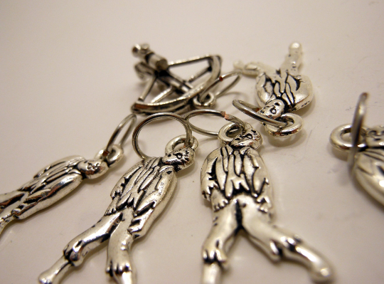 Handmade Silver Metal Stitch Markers ~ Zombie Hunter ~ Set of 6