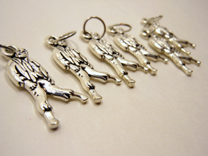Handmade Silver Metal Stitch Markers ~ Zombies! ~ Set of 6
