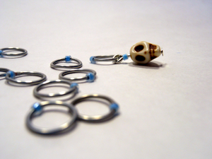 Handmade Snagless Stitch Markers ~ Neon Blue Skull ~ Set of 10